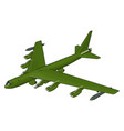 green military airplane with missiles on white vector image vector image
