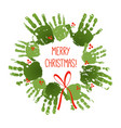 handprint christmas wreath with red handdrawn bow vector image vector image