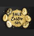 happy easter golden eggs design black vector image vector image