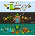 Hunting and fishing banners vector image vector image