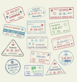 icons of world travel city passport stamps vector image vector image