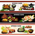 japanese dishes with fish seafood and veggies vector image vector image