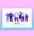 labor day profession character group landing page vector image vector image