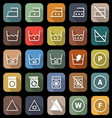 Laundry flat icons with long shadow vector image vector image