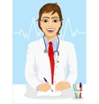 male handsome doctor writing a prescription vector image vector image