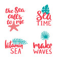 marine lettering collection sea time vitamin vector image vector image