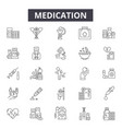 medication line icons signs set linear vector image vector image