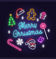merry christmas and 2020 happy new year neon sign vector image vector image