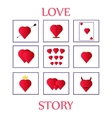 nine cards Valentine day vector image vector image
