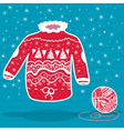 Red knitted christmas sweater and a ball of yarn vector image