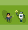 robot giving business man light bulb new creative vector image vector image