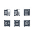 safes related glyph icon set vector image vector image
