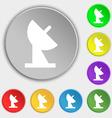 satellite dish icon sign Symbol on eight flat vector image