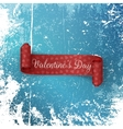Scroll Valentines Day Ribbon on Snow and Ice vector image