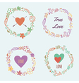 set colorful floral frames vector image vector image