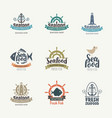 set logos on theme seafood in retro vector image vector image