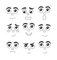 set of funny cartoon faces different emotions vector image vector image