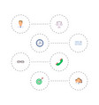 set of trade icons flat style symbols with team vector image