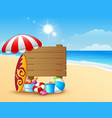 summer beach background with wooden sign vector image
