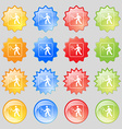 Tennis player icon sign Big set of 16 colorful vector image vector image