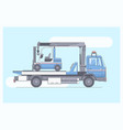tow truck delivers damaged vehicleline vector image vector image