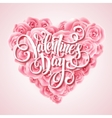 Valentine card with rose heart and calligraphic vector image vector image