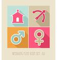wedding flat icon set vector image