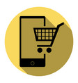 shopping on smart phone sign flat black vector image