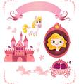Set of pink princess tale vector image