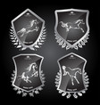 set with of shields with horses vector image