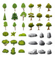a set of stones trees and bushes of landscape vector image vector image
