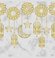 arabic golden lantern seamless border vector image