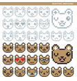 bear pixel emoticons vector image