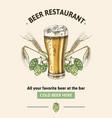 beer restaurant poster template vector image vector image
