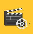 big open clapper board movie reel cinema icon set vector image vector image