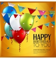 birthday card with balloons and bunting flags on vector image vector image