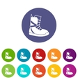 Boot for snowboarding set icons vector image vector image