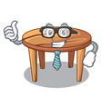 businessman cartoon round wooden table in cafe vector image