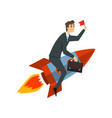 businessman with flag riding on a rocket vector image vector image
