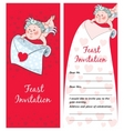 cupid with a letter valentines day postcard invita vector image vector image