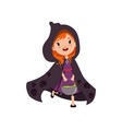 cute little red-haired girl witch walking in black vector image vector image