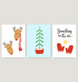 cute xmas cards posters letterings in cartoon vector image vector image