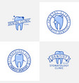 dental clinic blue outline logo templates set vector image