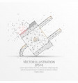 electric plug low poly wire frame on white vector image vector image