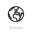 europe globe earth icon editable line vector image vector image