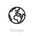 europe globe earth icon editable line vector image