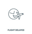 flight delayed icon outline thin line style from vector image vector image
