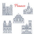 french travel landmark icon of famous cathedral vector image vector image