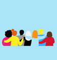 friends forever friendly group people hugging vector image