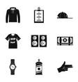 gangsta rap icon set simple style vector image vector image